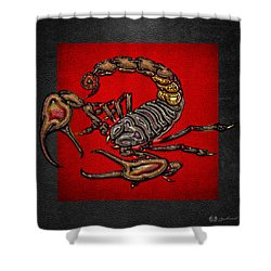 Scorpion On Red And Black  Shower Curtain by Serge Averbukh
