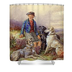 Scottish Boy With Wolfhounds In A Highland Landscape Shower Curtain by James Jnr Hardy