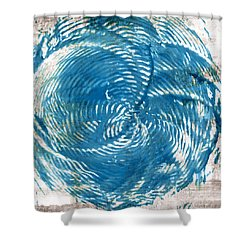 Shower Curtain featuring the painting Sea Blue Abstract by Frank Tschakert