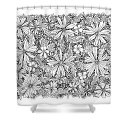 Sea Of Flowers And Seeds At Night Horizontal Shower Curtain by Tamara Kulish