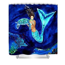 Sea Turtle Kiss Shower Curtain by Leslie Allen