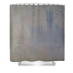 Seagulls Over The Houses Of Parliament Shower Curtain by Claude Monet