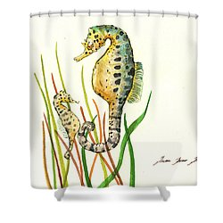 Seahorse Mom And Baby Shower Curtain by Juan Bosco
