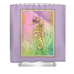 Seahorse Violet Shower Curtain by Amy Kirkpatrick