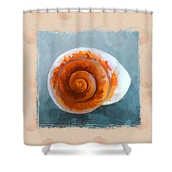 Seashell II Grunge With Border Shower Curtain by Jai Johnson