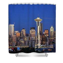 Seattle At Dusk Shower Curtain by Adam Romanowicz