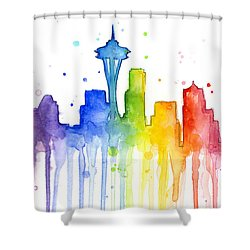 Seattle Rainbow Watercolor Shower Curtain by Olga Shvartsur