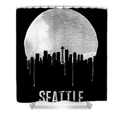 Seattle Skyline Black Shower Curtain by Naxart Studio