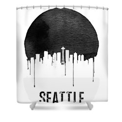 Seattle Skyline White Shower Curtain by Naxart Studio