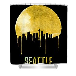 Seattle Skyline Yellow Shower Curtain by Naxart Studio