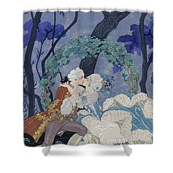Secret Kiss Shower Curtain by Georges Barbier
