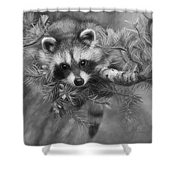 Seeking Mischief - Black And White Shower Curtain by Lucie Bilodeau