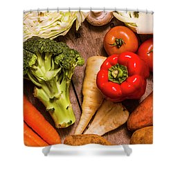 Selection Of Fresh Vegetables On A Rustic Table Shower Curtain by Jorgo Photography - Wall Art Gallery
