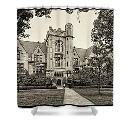 Sepia Photograph Of The University Of Chicago Ryerson Physical Laboratory - Chicago Illinois  Shower Curtain by Silvio Ligutti