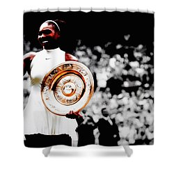 Serena 2016 Wimbledon Victory Shower Curtain by Brian Reaves
