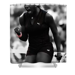 Serena Williams On Fire Shower Curtain by Brian Reaves