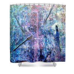 Seven Zippers Shower Curtain by Nancy Mueller
