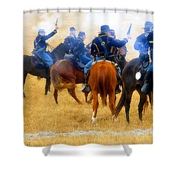 Seventh Cavalry In Action Shower Curtain by David Lee Thompson