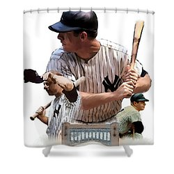 Shared Legacy Mickey Mantle Shower Curtain by Iconic Images Art Gallery David Pucciarelli