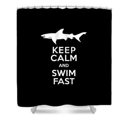 Shark Keep Calm And Swim Fast Shower Curtain by Antique Images