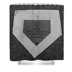 Shea Stadium Home Plate In Black And White Shower Curtain by Rob Hans