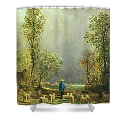 Sheep Watching A Storm Shower Curtain by Constant-Emile Troyon