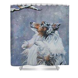 Shetland Sheepdog With Chickadee Shower Curtain by Lee Ann Shepard