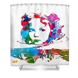 Shirley Temple Watercolor Paint Splatter Shower Curtain by Dan Sproul