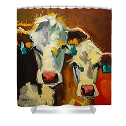 Sibling Cows Shower Curtain by Diane Whitehead