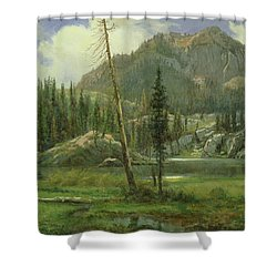 Sierra Nevada Mountains Shower Curtain by Albert Bierstadt
