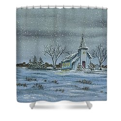 Silent Night Shower Curtain by Charlotte Blanchard