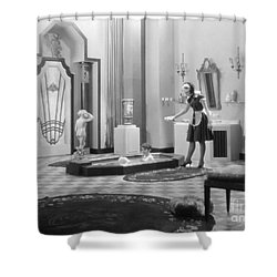 Silent Still: Bathtub Shower Curtain by Granger