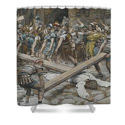 Simon The Cyrenian Compelled To Carry The Cross With Jesus Shower Curtain by Tissot