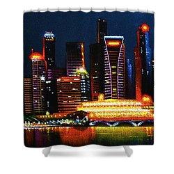 Singapore Aglow Shower Curtain by Thomas Kolendra