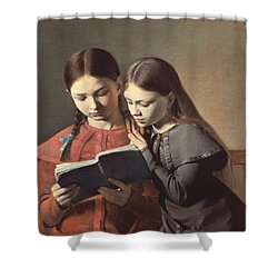 Sisters Reading A Book Shower Curtain by Carl Hansen