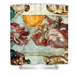 Sistine Chapel Ceiling Creation Of The Sun And Moon Shower Curtain by Michelangelo