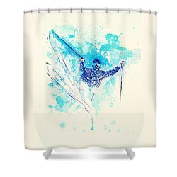 Skiing Down The Hill Shower Curtain by Bekare Creative
