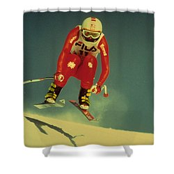 Shower Curtain featuring the photograph Skiing In Crans Montana by Travel Pics