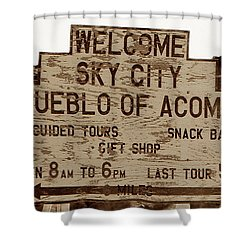 Sky City Sign Shower Curtain by David Lee Thompson