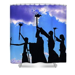 Sky Statues Shower Curtain by Perry Webster