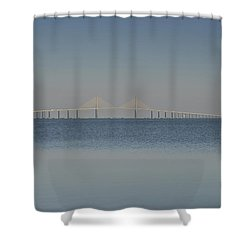 Skyway Bridge In Blue Shower Curtain by David Lee Thompson