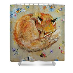 Sleeping Fox Shower Curtain by Michael Creese