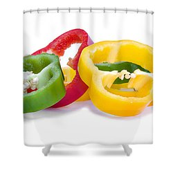 Sliced Colorful Peppers Shower Curtain by Meirion Matthias