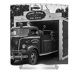 Small Fire House Shower Curtain by Garry Gay