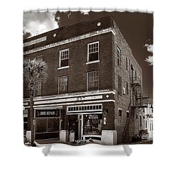 Small Town Shops - Sepia Shower Curtain by Christopher Holmes