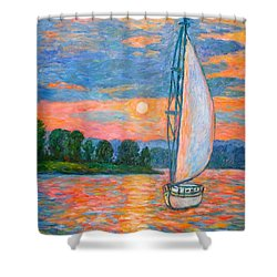 Smith Mountain Lake Shower Curtain by Kendall Kessler
