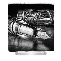 Snake Pen In Black And White Shower Curtain by Tom Mc Nemar