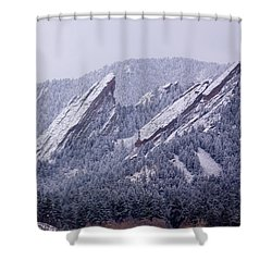Snow Dusted Flatirons Boulder Colorado Shower Curtain by James BO  Insogna