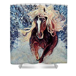 Snow Pony Shower Curtain by Gill Bustamante