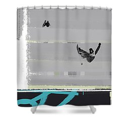 Snowboarding Shower Curtain by Naxart Studio